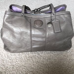 Pewter authentic Coach kiss lock purse